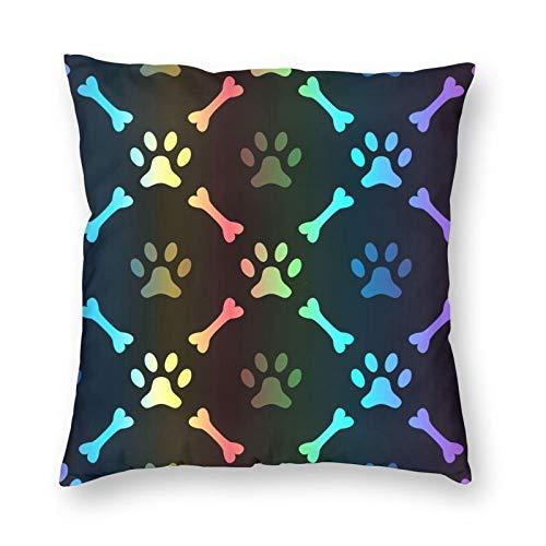 Nixboser Funda de almohada de poliéster sin costuras con huella de pata y hueso de animal Spectrum para decoración del hogar para sofá, sala de estar, cama, coche, tamaño de 24 x 24 pulgadas