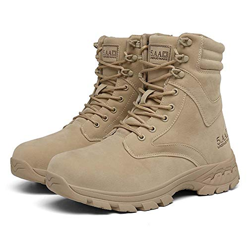Bititger - Botas de desierto militares de piel, impermeables, con cremallera, botas tácticas y de combate para hombre, para patrullas, de seguridad, para policías, color Beige, talla 45 EU