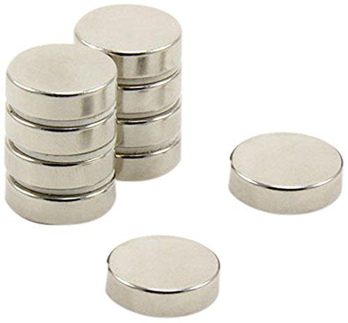 First4magnets F144-10 Durchmesser Dicker N42-Neodym-Magnet-3,4kg Anziehungskraft (1 St-Packung), 14mm dia x 4mm thick, 10 Stück