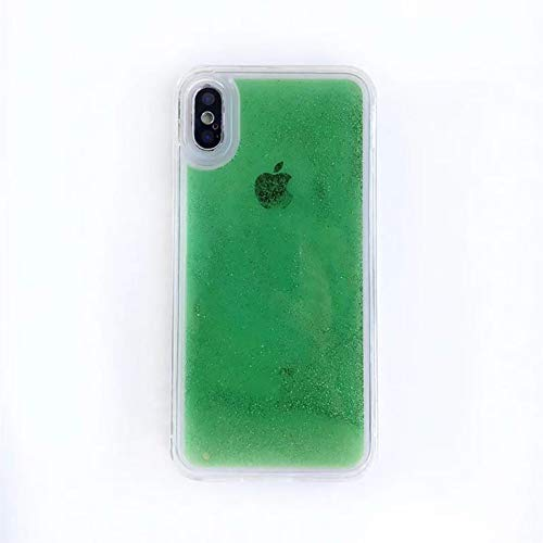 Gloeiende neon zandbak, voor iPhone XR XS Max X 6 6 S 7 8 Plus Glow in The Dark Liquid Glitter Quicksand telefoonhoesje