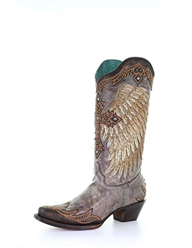 """CORRAL Western Boots Womens Wing & Cross Studs 13"""" 9.5 M Tobacco A3771"""