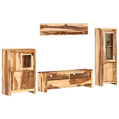 vidaXL Sheesham-Holz Massiv TV Möbel Set 4-TLG. Wohnwand Anbauwand Fernsehwand Schrankwand Wohnzimmer TV Schrank Wandregal Kommode