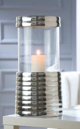GILDE 2tlg. Kerzen-Windlicht Ringe aus Alu mit Glas Kerzenständer