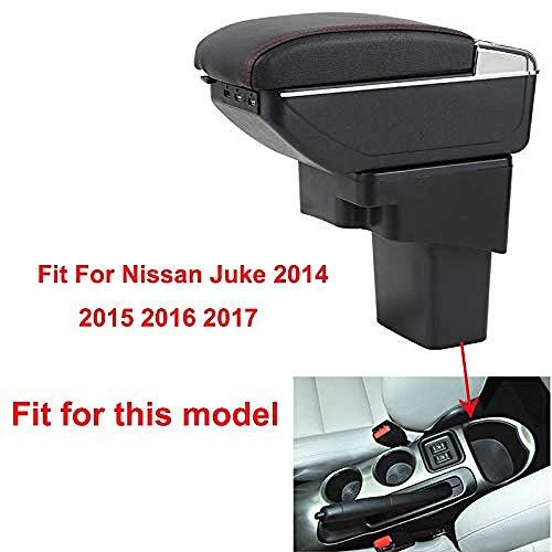 , para Nissan Juke 2014-2017 Caja de reposabrazos de Coche Interfaz de Carga USB Aumentar el Contenido de la Tienda Central Portavasos Cenicero Accesorio-Negro