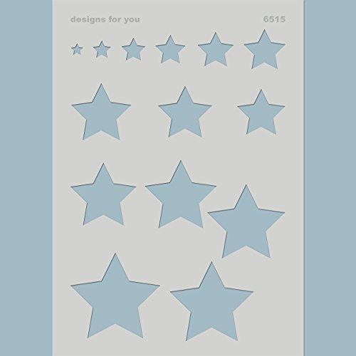 Schablone – Sterne, 6515, Din A4, 1-7 cm breite Sterne, Kinder, Textildesign, Kinderzimmer