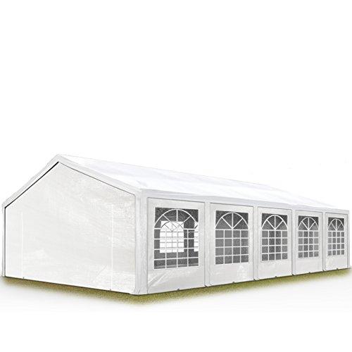 TOOLPORT Hochwertiges Partyzelt 5x10 m Pavillon Zelt 240g/m² PE Plane Gartenzelt Festzelt Wasserdicht weiß