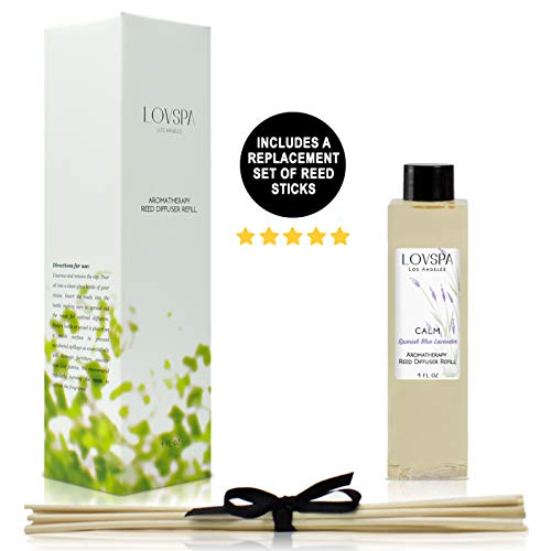 LOVSPA Calm Spanish Lavender Reed Diffuser Oil Refill with Replacement Reed Sticks - Blue Lavender, Clary Sage & Violet Leaf Essential Oils - Diffusing Oil Liquid for Scented Sticks, 4 Ounces