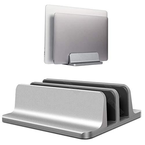 BECROWM ノートpc スタンド縦置き pcスタンド 縦置き ノートパソコンスタンド 2台立て アルミ製 ノートパソコン 縦置きスタンド 幅調節可能(スペースグレー)