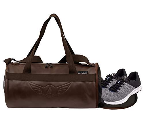 AUXTER Men's and Women's Fabric Gym Duffel Shoulder Bag with Emboss Logo (Tan)