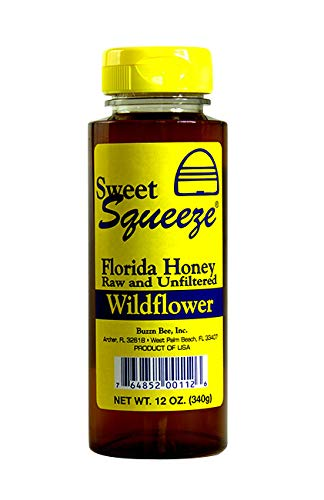 Sweet Squeeze Raw Honey - Unfiltered & Unpasteurized Wildflower Honey - From Floridas Beekeepers, 12 Ounce