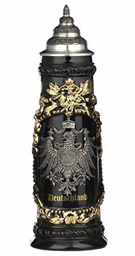 King Jarra de cerveza alemana grande alemana con escudo de estaño, jarra...