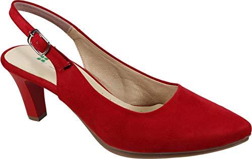 WUAPAS 3780 - Zapato Mujer Salón Stiletto Destalonado Tacón 7 cm. (39 EU, Rojo)