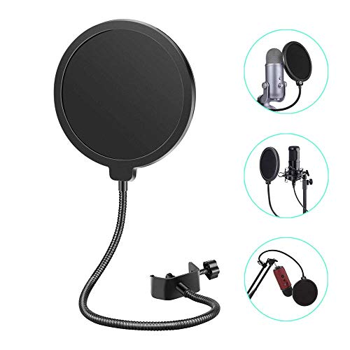Mikrofon Popschutz Mikrofon Windschutz Absorber-Filter Profi Windschutz Runde Form mit Stand Clip, für Blue, Yeti und andere Mikrofone