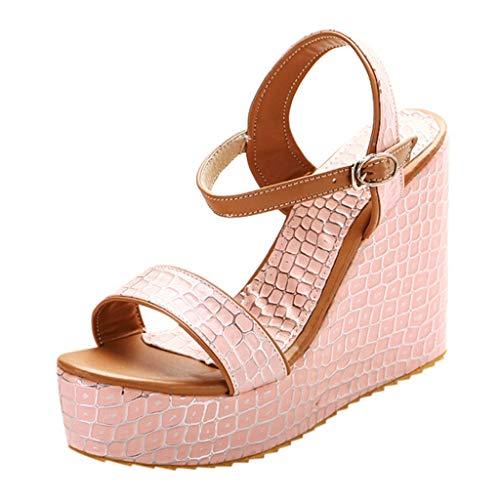 Sandalias Verano para Mujer de Cuñas Plataformas con Hebilla Transpirables de Punta Abierta Boca de Pescado Casuales Zapatos de Playa Fiesta Tacón Alto (5-8 cm) Fannyfuny