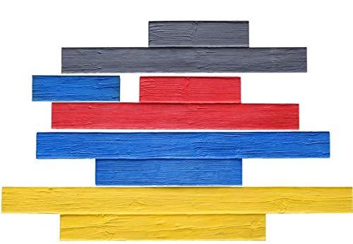 Weatherwood Plank Concrete Stamp Set by Walttools | Realistic Hardwood Slabs, Sturdy Polyurethane Texturing Mats, Decorative Lumber Detail (5 Piece)