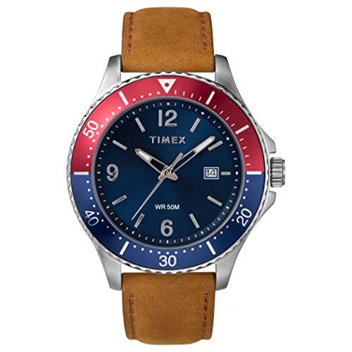 Timex Men's Diver-Inspired 3-Hand 43mm Watch – Silver-Tone Case Blue Dial Red Accents with Tan Leather Strap