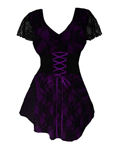 Dare to Wear Sweetheart Corset Top: Romantic Victorian Gothic Women's Lace Chemise for Everyday Halloween Cosplay Festivals, Purple S