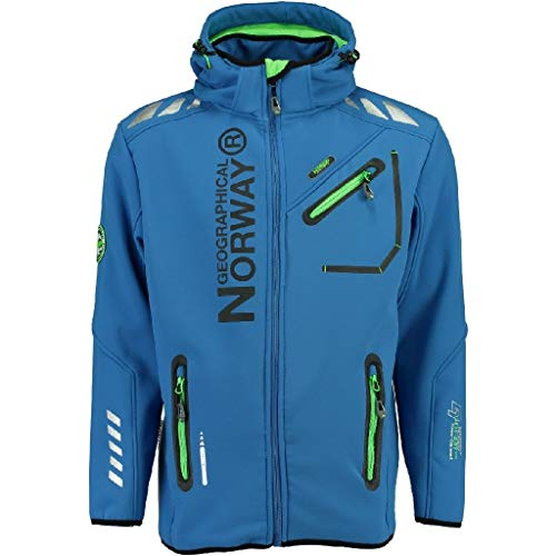 Geographical Norway Hombre Chaqueta Outdoor Softshell Rainman Turbo de Dry Capucha, Azul, L