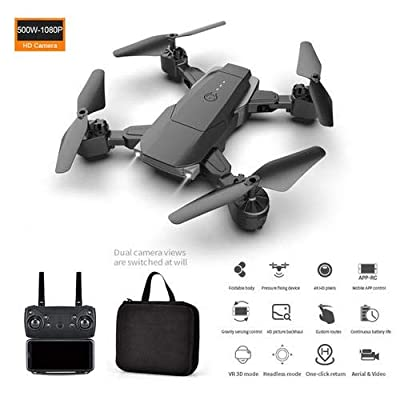 Foldable Camera Drone with 5 Million Pixels 1080P Camera, Wide-Angle Live Video RC Quadcopter with Altitude Hold Remote Control Aircraft, Follow Me Mode for Beginners