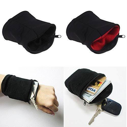 Delleu Dickes einfarbiges Armband mit Reißverschluss-Handgelenk-Mappen-Schweißband