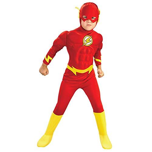 MIAOXI Vestito Muscolare per Bambini Costume da Tuta Flash Costume da Spettacolo di Halloween Tuta Abbigliamento per Indumenti Cosplay Anime,Flash- 110~120cm