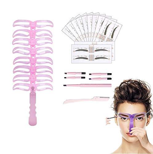 Augenbrauen Pflege Set,Augenbrauen Schablonen Set,Augenbrauen Schablone Kit Template,Augenbrauenlineal,Augenbrauen Pflege,Makeup Werkzeuge,Make Up Werkzeug