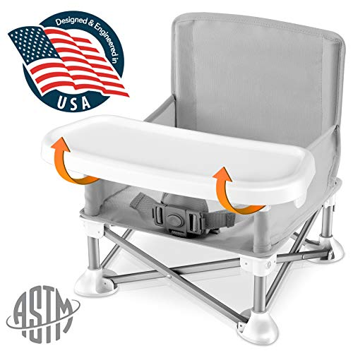 Great Deal! Baby Seat Booster High Chair – Portable Toddler Booster Seat -Lightweight Easy Travel Pop-n-Sit Folding Booster Feeding Chair w/ Aluminum frame, Safety Belt for Camping/Beach/Lawn Weatherproof  SLBS66