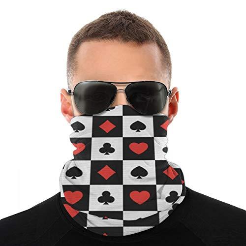 hfdff Protezione per maschera da sole per esterni multiuso Cuffie da collo da pesca per uomo Abiti da poker Carte da gioco Quadrati a quadri Picche Cuori e fiori, Sciarpe Coprispalle
