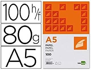 Liderpapel PB01 - Pack de 100 hojas de papel, A5, color