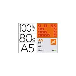 Liderpapel PB01 – Pack de 100 hojas de papel, A5, color blanco