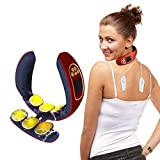 Smart Neck Massager for Pain Relief Women Men Cordless Portable Neck Massage with Heat 4 Modes 15 Levels Intelligent Electric Wireless Deep Tissue Neck Relax Massager (Red)