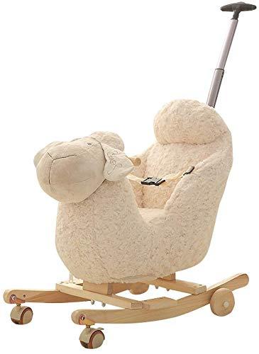 ZXJJD Baby Rocking Horse, Child Wooden Plush Rocking Horse Chair Rocker/sheep Animal Ride on with Wheels/music/seat Belt