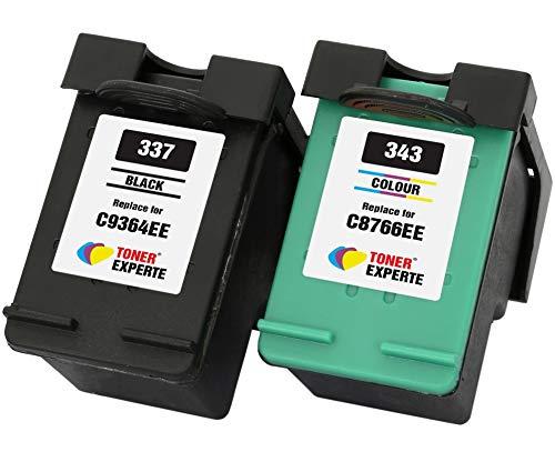 TONER EXPERTE Reemplazo para HP 337 HP 343 2 Cartuchos de Tinta compatibles para Photosmart 2500 2570 2573 2575 C4100 C4110 C4140 C4150 C4180 D5160 8049 Officejet 6300 6310 6313 6315 | Alta Capacidad