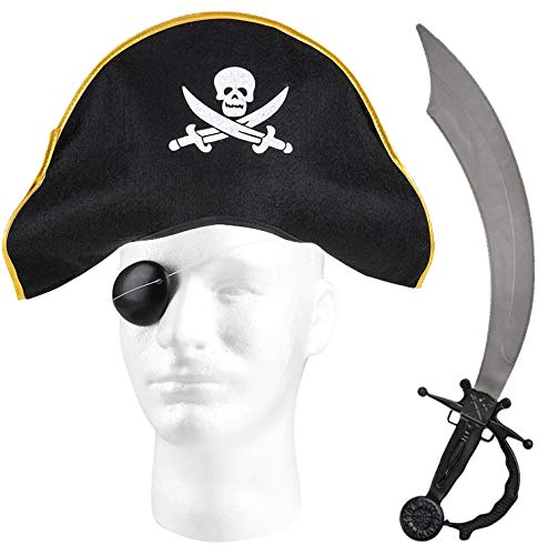 "Caribbean Pirate Dress Up Costume, Felt Pirate Hat, 19"" Pirate Sword, and Eyepatch Set Gray"