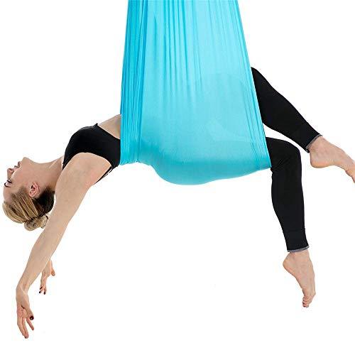WDMSN Yoga DIY Silk Pilates Stoff 5 * 2.8 Meter Premium Aerial Tuch Elastische Hängematte Keine Nähte Blau Trapez Schaukel Vertikaltuch Bodybuilding Fitness-ÜBung Kein ZubehöR