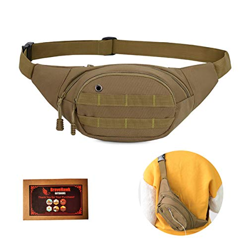 BraveHawk OUTDOORS Tactical Waist Bag, 900D Nylon Oxford Water-Resistant Outdoor EDC Fanny Pack Utility Waist Pouch Outdoor Bumbag (Khaki)