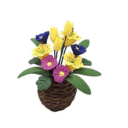 Mini Artificial Plant Flower Pot 1/12 Dollhouse Resin Flower Miniature Exquisite Green Ornament For outdoor decoration