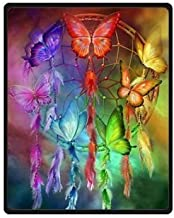 Qihua Velvet Plush Throw Blanket Bed Blanket Perfect for Couch Sofa or Bed with Butterfly Dream Catcher 58