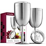 FineDine Premium Grade 18/8 Stainless Steel Wineglasses 12 Oz. Double-Walled Insulated Unbreakable Goblets (Set of 2) Stemmed Wineglass BPA-Free Leak-Resistant Lid for Red White Wine, Brushed Metal