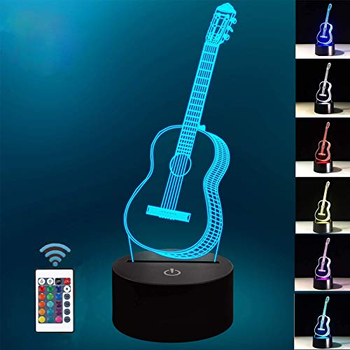 Gitarre 3D Illusion Nachtlampe, für Jungen Mädchen Tisch Schreibtischlampe 7 Farbwechsel USB Powered Inneneinrichtung Acryl LED Kunstskulptur Lichter mit Fernbedienung - Perfekte Geschenke
