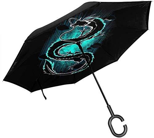 qinhanxinchengxianlibaihuodian Schatten des Drachen Chihiros Double Layer Inverted Regenschirm für Auto-Reverse-Folding den Kopf gestellt C-förmigen Hände - Leicht und Winddichtes & ndash