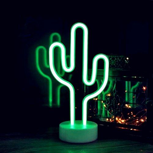 QiaoFei LED Cactus Nachtlicht für Kinder Geschenk, Batterie oder USB betrieben Nachttischlampe mit Halter für Geburtstagsfeier, Weihnachten, Kindergarten, Wohnzimmer, Büro-Dekor (grün)