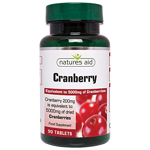 Natures Aid Cranberry 200mg (equivalent to 5000mg of fresh cranberries), 90 tabletas. Suitable for Vegans.