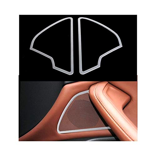 OutdoorKing Accesorio Interior Cubierta De Altavoz Audio para Puerta De Coche, Tira De Anillo Estéreo De Lentejuelas De Acero Inoxidable Bugle para Audi A6 C7 2012 2013 2014 2015 2016 2017