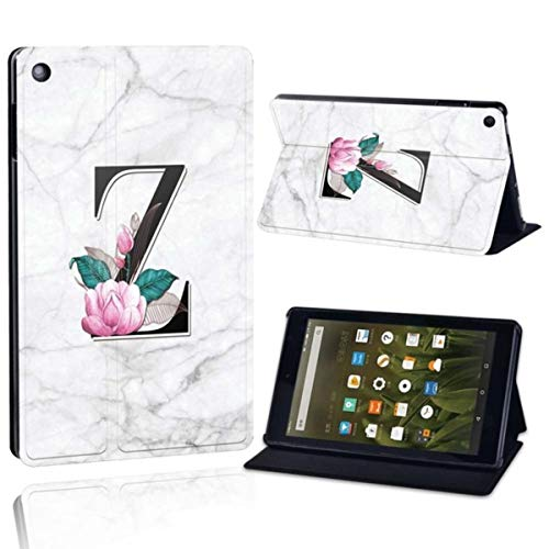 for Amazon Fire 7 5th/7th/9th Fire HD 8 2016/2017/2018,Fire HD 10 2015/2017 Printing PU Leather Tablet Stand Cover Case,Letter Z on White,Fire HD 10