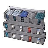 Bolsa de almacenamiento Organizador de ropa con asas reforzadas, cremalleras, tela no tejida, diseño de divisores, ventana transparente para ropa, zapatos, ropa de cama, juguetes HG608