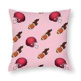 Taie d'oreiller en coton imprimé double face avec bonnet de rugby Rouge 45 x 45 cm