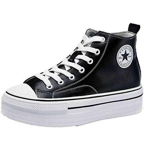Zapatillas de Deporte para Mujer, de Cuero Liso, Estilo Simple, Plataforma Gruesa, Verano, otoño, tacón Oculto, Zapatos de Lona Blancos y Negros