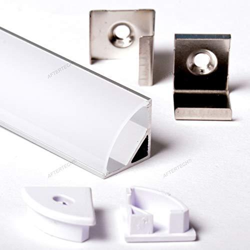 Aftertech® 3 m 3 m 1616 16 x 16 mm Aluminiumprofil Eckleiste LED-Streifen starr 3 m + matter Abdeckung