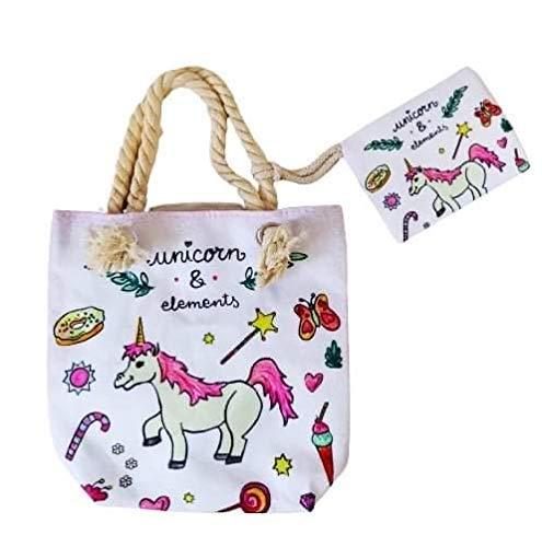 Goods4good Bolso Playa Piscina Unicornio Pequeño Infantil para Niña/Chica con Regalo Neceser/Monedero Color Rosa Asas Cremallera para Verano 23x29 cm